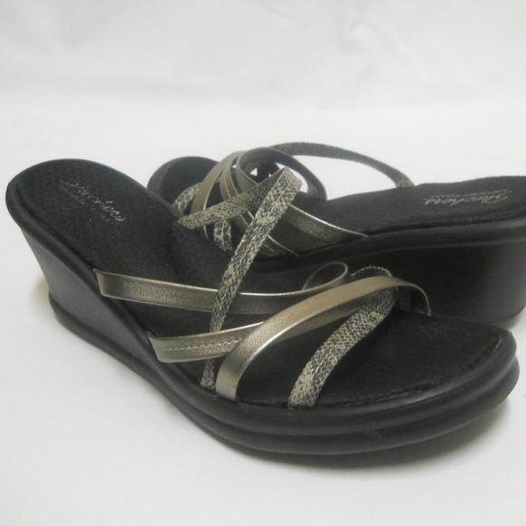 Skechers Memory Foam Strappy Wedge Sandals Sz 10
